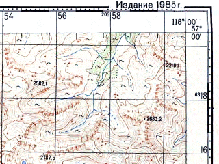 Reduced fragment of topographic map ru--gs--100k--o50-116--N057-00_E117-30--N056-40_E118-00