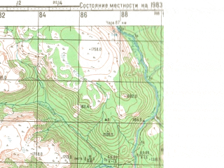 Reduced fragment of topographic map ru--gs--100k--o50-141--(1983)--N056-20_E118-00--N056-00_E118-30