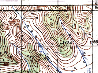 Reduced fragment of topographic map ru--gs--100k--o55-007--N060-00_E147-00--N059-40_E147-30