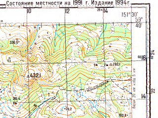 Reduced fragment of topographic map ru--gs--100k--o56-015--N059-40_E151-00--N059-20_E151-30; towns and cities Ola