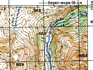 Reduced fragment of topographic map ru--gs--100k--o56-040--N059-00_E151-30--N058-40_E152-00