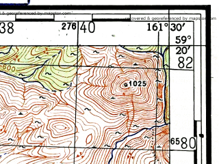 Reduced fragment of topographic map ru--gs--100k--o57-035--(1950)--N059-20_E161-00--N059-00_E161-30