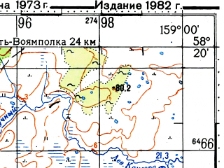 Reduced fragment of topographic map ru--gs--100k--o57-066--(1973)--N058-20_E158-30--N058-00_E159-00; towns and cities Amanina
