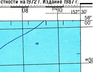 Reduced fragment of topographic map ru--gs--100k--o57-075--(1972)--N058-00_E157-00--N057-40_E157-30