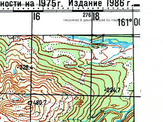 Reduced fragment of topographic map ru--gs--100k--o57-094--(1975)--N057-40_E160-30--N057-20_E161-00
