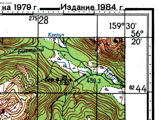 Reduced fragment of topographic map ru--gs--100k--o57-139--(1979)--N056-20_E159-00--N056-00_E159-30