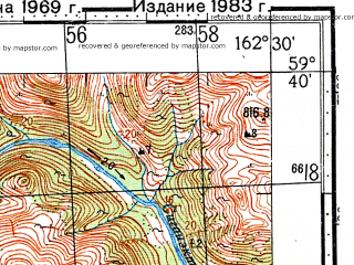 Reduced fragment of topographic map ru--gs--100k--o58-013--(1969)--N059-40_E162-00--N059-20_E162-30