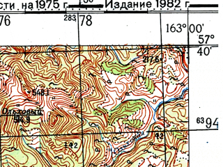 Reduced fragment of topographic map ru--gs--100k--o58-086--(1975)--N057-40_E162-30--N057-20_E163-00