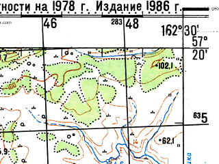 Reduced fragment of topographic map ru--gs--100k--o58-097--(1978)--N057-20_E162-00--N057-00_E162-30