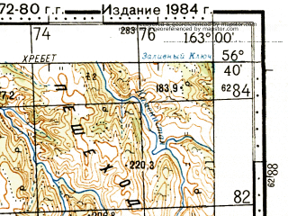 Reduced fragment of topographic map ru--gs--100k--o58-122--N056-40_E162-30--N056-20_E163-00 in area of Ozero Stolbovoe; towns and cities Kultuk