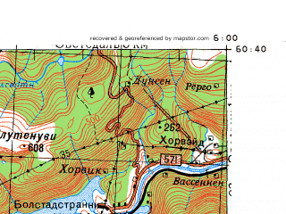 Reduced fragment of topographic map ru--gs--100k--p31-131_132--N060-40_E005-00--N060-20_E006-00; towns and cities Bergen, Ytre Arna, Dale, Haukeland