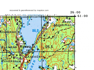 Download topographic map in area of Lahti Nastola Orimattila