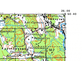 Download topographic map in area of Jarvenpaa Kerava Porvoo