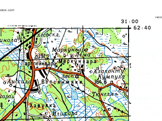 Reduced fragment of topographic map ru--gs--100k--p36-049_050--N062-40_E030-00--N062-20_E031-00; towns and cities Tuupovaara, Ilomantsi
