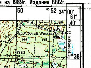 Reduced fragment of topographic map ru--gs--100k--p36-091_092--N061-40_E033-00--N061-20_E034-00; towns and cities Verkhnevazhinskiy