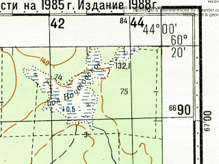Reduced fragment of topographic map ru--gs--100k--p38-135_136--N060-20_E043-00--N060-00_E044-00; towns and cities Sergiyevskaya