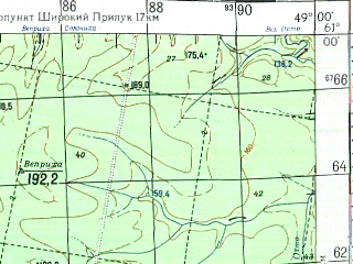 Reduced fragment of topographic map ru--gs--100k--p39-109_110--N061-00_E048-00--N060-40_E049-00; towns and cities Ray