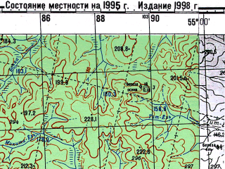 Reduced fragment of topographic map ru--gs--100k--p40-109_110--N061-00_E054-00--N060-40_E055-00; towns and cities Vozhdin