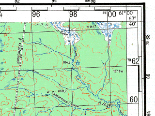 Reduced fragment of topographic map ru--gs--100k--p41-013_014--N063-40_E060-00--N063-20_E061-00