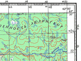 Reduced fragment of topographic map ru--gs--100k--p41-027_028--N063-20_E061-00--N063-00_E062-00