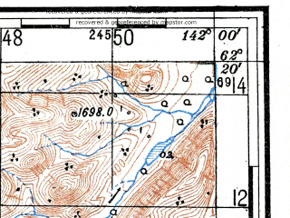 Reduced fragment of topographic map ru--gs--100k--p54-067_068--(1950)--N062-20_E141-00--N062-00_E142-00