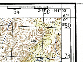 Reduced fragment of topographic map ru--gs--100k--p54-083_084--(1945)--N062-00_E143-00--N061-40_E144-00