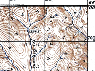 Reduced fragment of topographic map ru--gs--100k--p55-007--(1948)--N064-00_E147-00--N063-40_E147-30