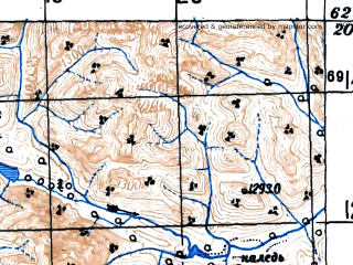 Reduced fragment of topographic map ru--gs--100k--p55-063--(1948)--N062-20_E145-00--N062-00_E145-30