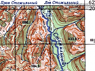 Reduced fragment of topographic map ru--gs--100k--p55-065_066--N062-20_E146-00--N062-00_E147-00; towns and cities Imeni Mariny Raskovoy