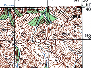 Reduced fragment of topographic map ru--gs--100k--p55-089_090--N061-40_E146-00--N061-20_E147-00