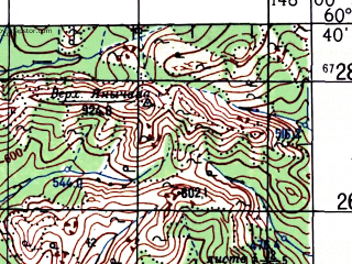 Reduced fragment of topographic map ru--gs--100k--p55-127_128--N060-40_E147-00--N060-20_E148-00