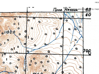 Reduced fragment of topographic map ru--gs--100k--p56-021_022--(1951)--N063-40_E154-00--N063-20_E155-00; towns and cities Balygychanskiy