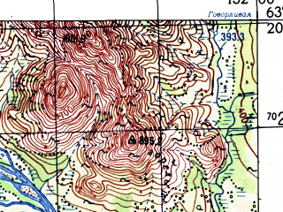 Reduced fragment of topographic map ru--gs--100k--p56-027_028--N063-20_E151-00--N063-00_E152-00