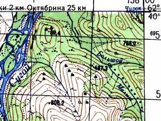Reduced fragment of topographic map ru--gs--100k--p56-059_060--N062-40_E155-00--N062-20_E156-00; towns and cities Omsukchan, Industrialnyy, Aygur