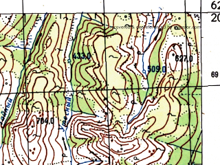 Reduced fragment of topographic map ru--gs--100k--p56-061_062--N062-20_E150-00--N062-00_E151-00 in area of Bahapca