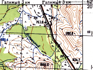Reduced fragment of topographic map ru--gs--100k--p56-071_072--N062-20_E155-00--N062-00_E156-00; towns and cities Nevskiy