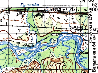 Reduced fragment of topographic map ru--gs--100k--p56-079_080--N062-00_E153-00--N061-40_E154-00; towns and cities Kupka