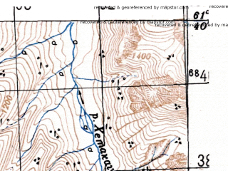 Reduced fragment of topographic map ru--gs--100k--p56-085_086--(1951)--N061-40_E150-00--N061-20_E151-00