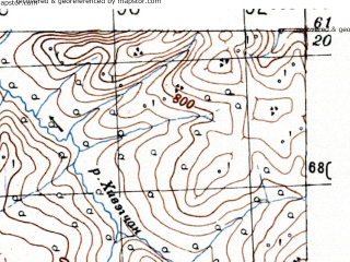 Reduced fragment of topographic map ru--gs--100k--p56-097_098--(1951)--N061-20_E150-00--N061-00_E151-00