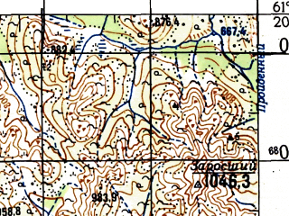 Reduced fragment of topographic map ru--gs--100k--p56-101_102--N061-20_E152-00--N061-00_E153-00; towns and cities Goryachiy Kluch