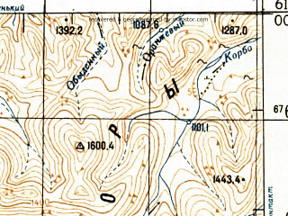 Reduced fragment of topographic map ru--gs--100k--p56-115_116--N061-00_E153-00--N060-40_E154-00