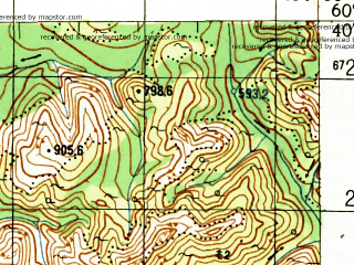 Reduced fragment of topographic map ru--gs--100k--p56-127_128--N060-40_E153-00--N060-20_E154-00