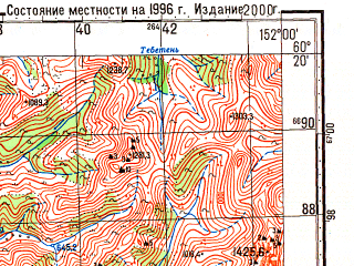 Reduced fragment of topographic map ru--gs--100k--p56-135_136--N060-20_E151-00--N060-00_E152-00; towns and cities Karamken