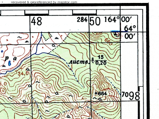 Reduced fragment of topographic map ru--gs--100k--p58-003_004--(1953)--N064-00_E163-00--N063-40_E164-00