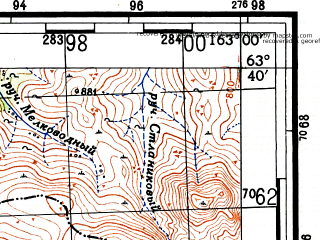 Reduced fragment of topographic map ru--gs--100k--p58-013_014--(1953)--N063-40_E162-00--N063-20_E163-00; towns and cities Molodovskaya