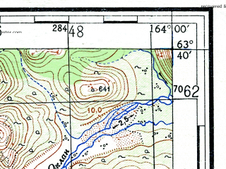 Reduced fragment of topographic map ru--gs--100k--p58-015_016--(1953)--N063-40_E163-00--N063-20_E164-00