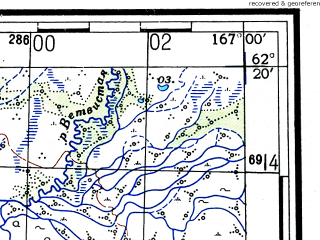 Reduced fragment of topographic map ru--gs--100k--p58-069_070--(1953)--N062-20_E166-00--N062-00_E167-00