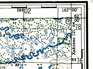 Reduced fragment of topographic map ru--gs--100k--p58-081_082--(1951)--N062-00_E166-00--N061-40_E167-00