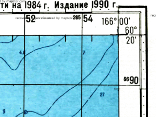 Reduced fragment of topographic map ru--gs--100k--p58-139_140--(1984)--N060-20_E165-00--N060-00_E166-00; towns and cities Geka, Vyvenka