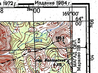 Reduced fragment of topographic map ru--gs--100k--p59-001_002--(1972)--N064-00_E168-00--N063-40_E169-00